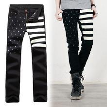 Wholesale 2015 New Fashion Black tars and Stripes USA flag boy Cargo hip hop Biker pants Jean Skinny Mens Denim jeans trousers