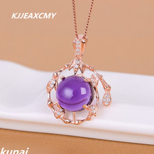 KJJEAXCMY boutique jewelry,Colorful jewelry 925 silver inlaid Amethyst female necklace, simple and generous wholesale