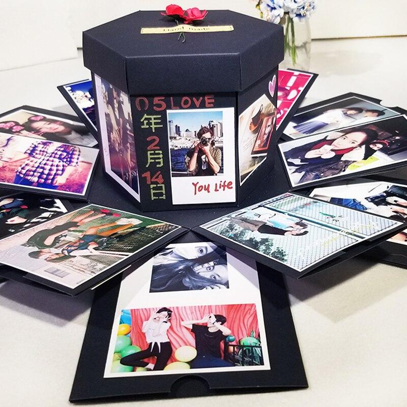 Caja de regalo de explosión hecha a mano Boom álbum DIY Scrapbooking cumpleaños regalo de San Valentín con Kit de accesorios DIY álbum de boda