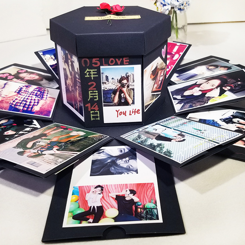 Explosión caja hecha a mano pluma caja de regalo DIY álbum Scrapbooking cumpleaños regalo de San Valentín con Kit de accesorios de bricolaje álbum de boda