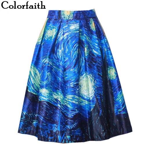 Fashion Satin Women Vintage Van Gogh Starry Sky Oil Painting 3D Print High Waist Skirt Rockabilly Tutu Retro Puff Skirt SK057