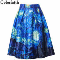 Fashion Satin Women Vintage Van Gogh Starry Sky Oil Painting 3D Print High Waist Skirt Rockabilly Tutu Retro Puff Skirt SK057