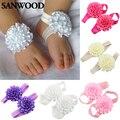2Pcs Baby Infant Toddler Girl Ribbon Flowers Barefoot Sandals Sock Toe Shoes 9IH1