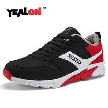YEALON Winter Men Shoes Krasovki Running Shoes For Men Chaussures Homme Sneakers Shoes Sports Men Winter Running Shoes With Fur