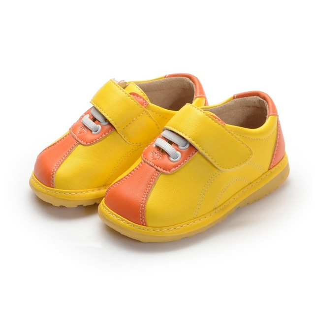 Yellow Orange Baby  Boy Leather( PU) Shoes 1-3Y Toddler Squeaky Shoes Free Shipping