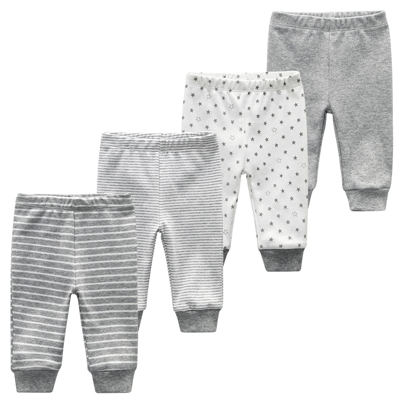 Baby Long Pants Newborn Unisex Girl Boy Trousers 4Pcs/lots Striped Baby Leggings Cotton Pantalones 0-12M roupas de bebe(China)