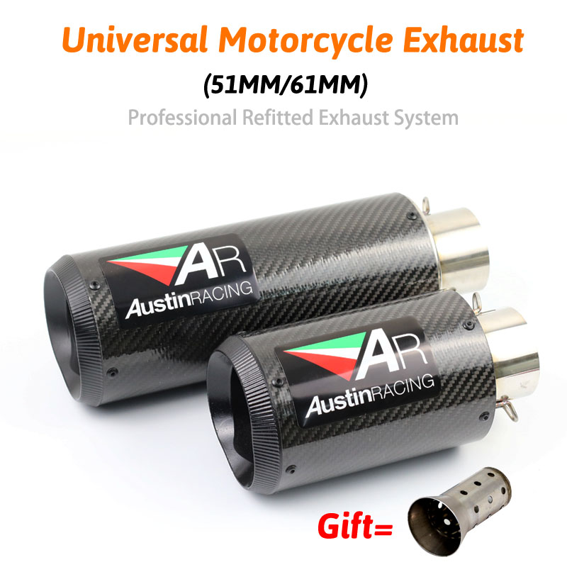 51mm 61mm Modified Universal AR Exhaust For Most Motorcycle Modified Muffler Pipe S1000 z800 cbr600 bj600