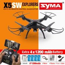 SYMA X5SW FPV RC Quadcopter Drone con Cámara WIFI HD 2.4G Dron 6-Axis RC Juguetes Helicóptero Con Plena Capacidad 5 Batería VS H8C