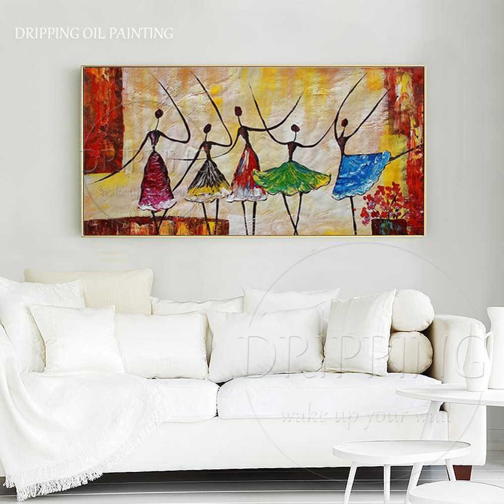Modern Wall Art Ballerina Minyak Lukisan untuk Dekorasi Dinding tangan-dicat Minyak Lukisan pada Kanvas Ballet Dancer Ballerina Gambar