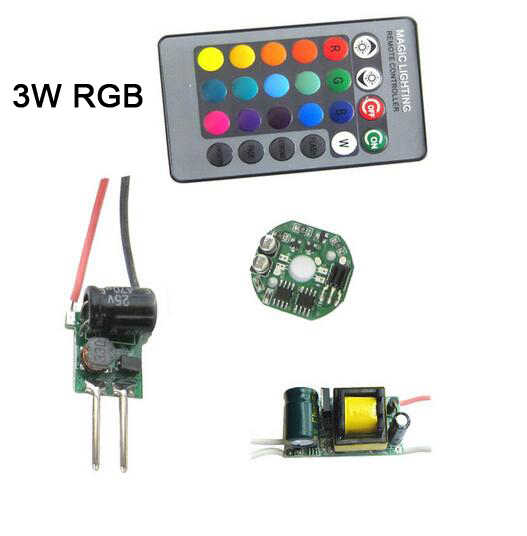 1set 3W 10W 15W RGB RGBW LED light Bulb Lamp Part+ Dimmable IR Controller PCB + IR Remote + AC110V~220V / DC12V LED Driver DIY