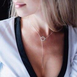 E-Manco 925 Sterling Silber Lange Anhänger Linie Runde Halskette Einfache und Romantische Stil Edlen Schmuck Neue Jahr Geschenk für Frauen