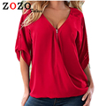 Falacs zozo Fashion Women Blouses Sexy V Neck Zipper Half Sleeve Shirt Women Plus Size 5XL Blouse Casual Loose Blusas Women Tops