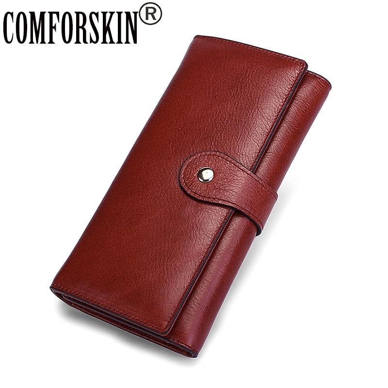 Carteira Feminina COMFORSKIN Premium 100% Cowhide  Leather Unique Woman Zipper Purses Famous Brand Long Vintage Womens Wallets
