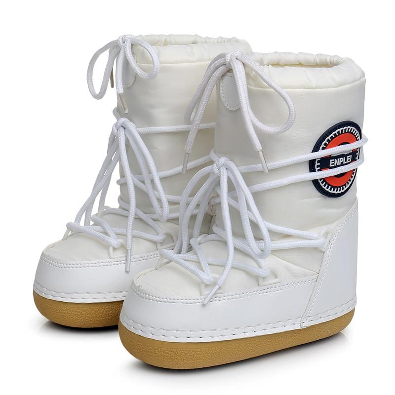 Mulheres Botas Sapatos Mulher Mid-bezerro Dentro Quentes Flats Trabalho Lace Up Deslizamento Em Botas de Neve Senhoras Inverno Mais tamanho 41 42 BeautyFeet