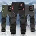 Winter Hiking Warm Waterproof pants Fleece Trekking Ski outdoor Pants Windstopper Climbing long trousers Men  push size L-5XL