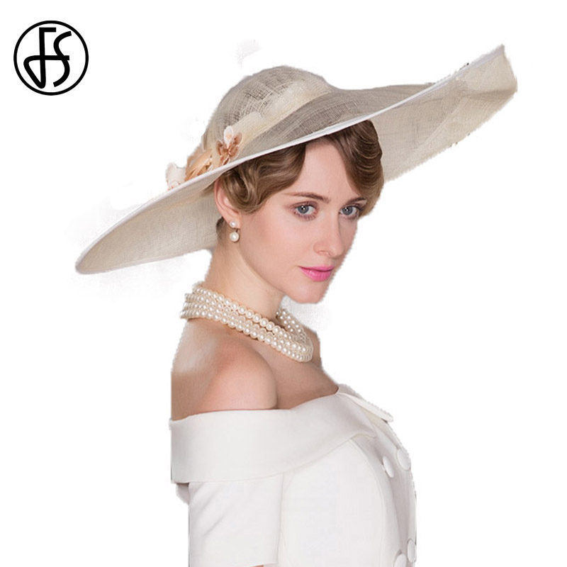 623ab8dcee8 FS Elegant Organza Hats For Women Summer Large Wide Brim Bonnet Party  Wedding Kentucky Derby White ...