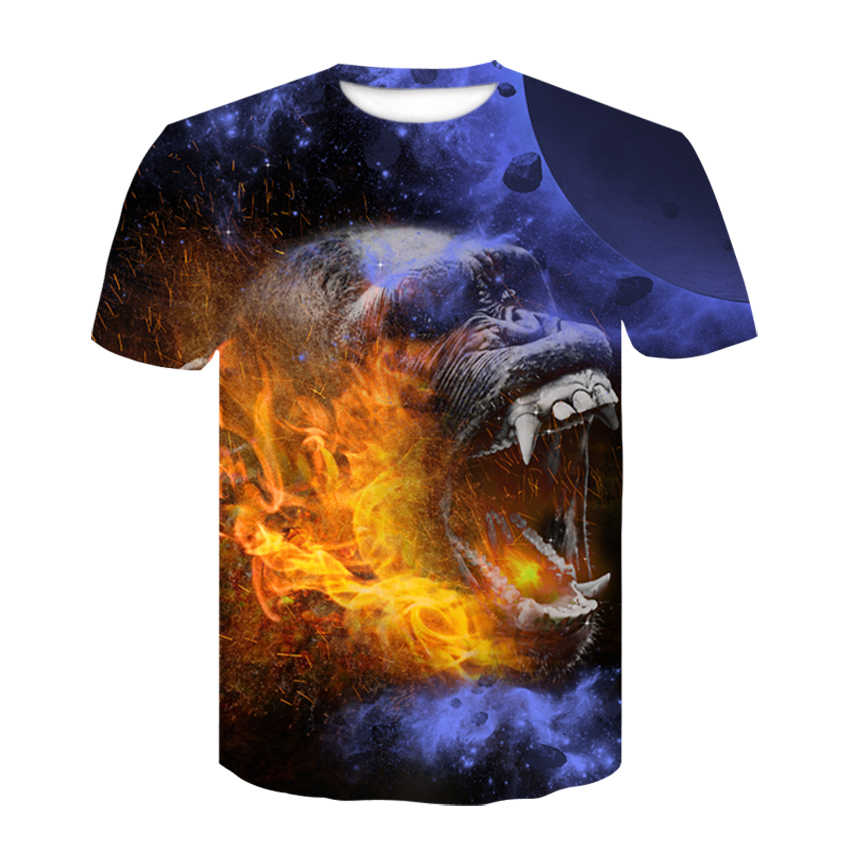 Мужская одежда 2019, 3D футболка, футболка с принтом волка, голова животного, крутой Топ, модный костюм, хип-хоп, короткий рукав, мужские Забавные футболки