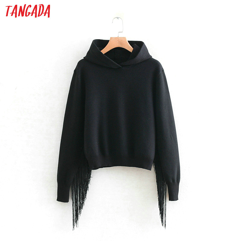 Tangada Women Chic Tassel Hooded Sweaters Pullovers Fashion Black Sweater Female Pullover Ladies Cropped Jumper Pull Femme RY439