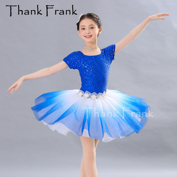 Color Gradient Tutu Ballet Dress For Dancing Girls Short Sleeve Ballerina Dance Costume Women Sequin Rave Festival Clothing C543 фото