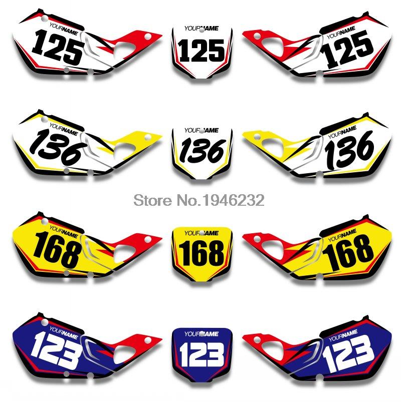 H2CNC Custom Number Plate Background Graphics Sticker & Decal For Honda CR125 1998 1999 CR250 1997 1998 1999 CR 125 250