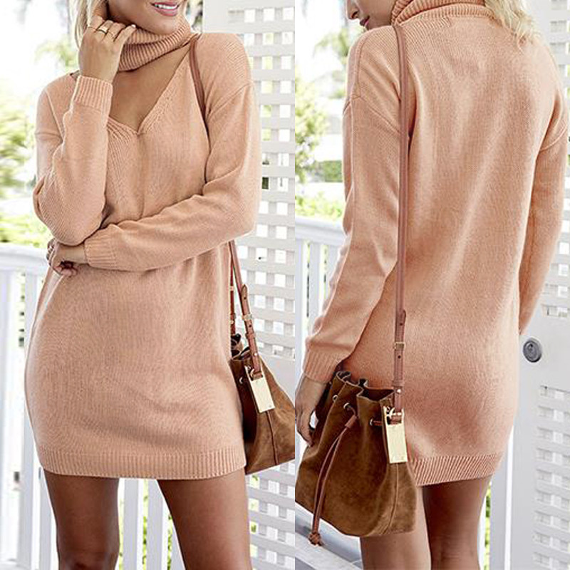 Autumn Spring Dress Knitted Sexy Long Sweaters Halter for Women V-neck Pullover Clothing Casual Long Sleeve Vestidos Female Tops