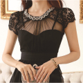 Luxury Diamonds Chiffon Lace Blouse Black Women Short Sleeve Hollow Out Slim O Neck Top Summer Mesh Shirts Camisas Blusas Preta
