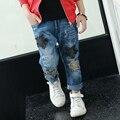 2017 мальчиков джинсы весна дети повседневная звезда карманные толстые джинсы брюки брюки