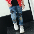 2017 boys jeans spring children casual star pocket thick jeans pants trousers