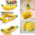 Mulheres bonitas Meninas Novidade Fruit de Banana Silicone Portátil Lápis Pen Caso Bolsa Com Zíper Bolsa Da Moeda Caso Bolsa Carteira Chaveiro