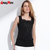 Gateway mujer encaje Blusas mujeres verano blanco Tops Camisa elegante malla cuello cuadrado Blusas para las mujeres 0069
