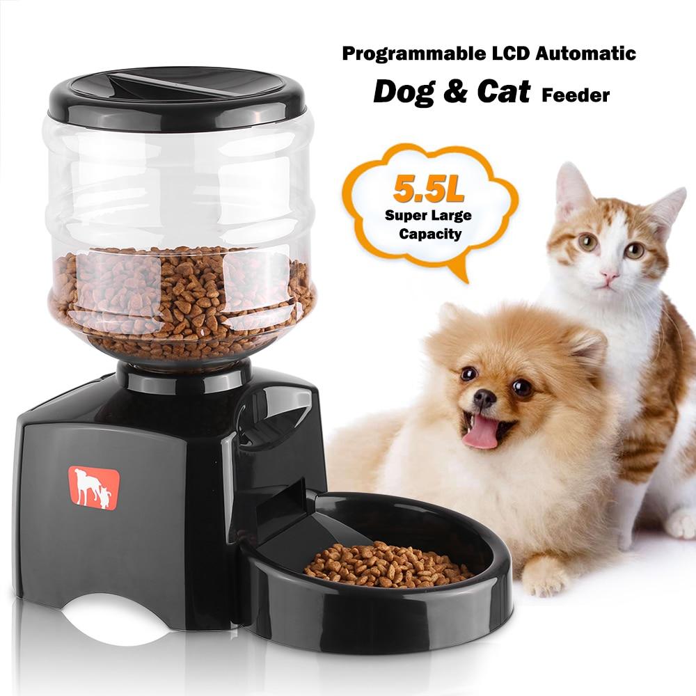 5.5L LCD الكلب جهاز التزويد الآلي بطعام الحيوان الأليف القط الحيوانات الأليفة المغذية الكهربائية الجافة الغذاء موزع طبق عاء 1 3 وجبة/يوم الموقت تسجيل صوتي-في غذاء للكلاب من المنزل والحديقة على  مجموعة 1