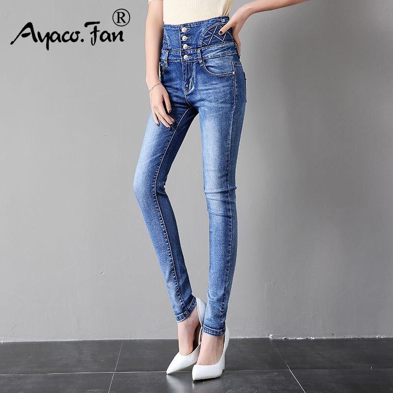 2019 High Waist Skinny Stretch Jeans Fashion Women Denim Pencil Pants Female Spring Black Jeans Feet Pantalones Mujer Plus Size