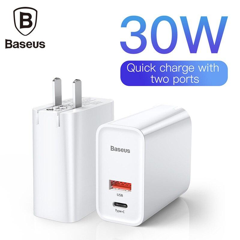 Baseus carregador usb carregador rápido 3.0 adaptador ue eua 5a usb c carregamento do telefone móvel viagem carregador de parede para iphone samsung xiaomi