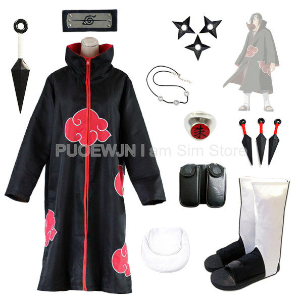 Anime Naruto Uchiha Itachi Cosplay Costume Suit Set Penuh
