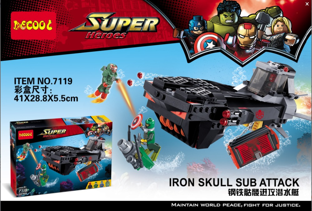 Decool 7119 Super Hero Iron Skull Sub Attack Underwater Battle Bricks Building font b Block b