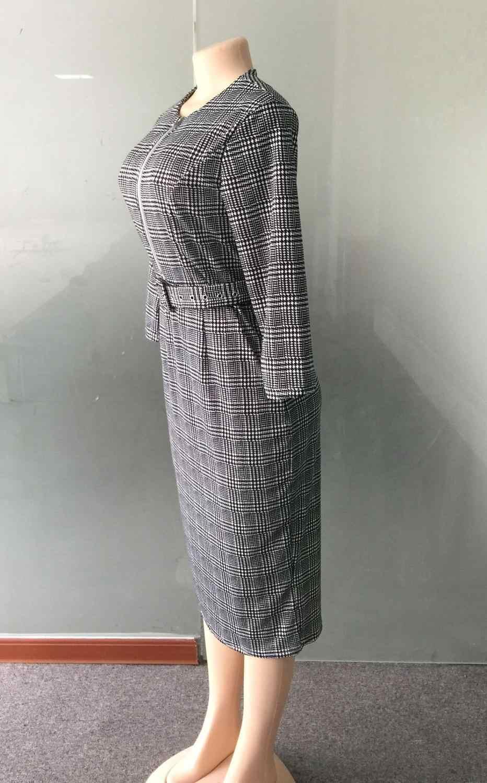 HGTE 2019 весенние женские Винтаж ремень молния платье с твидовым узором Бизнес офисные женские сотрудник большой размеры платье трапециевидной формы