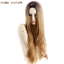 Aisi волос синтетических блондинка парик Ombre для черные женские длинные волнистые ombre светлые волосы