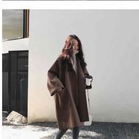 Plus Size Autumn Women's Korean Loose Blend Coat Woolen Coat Cardigan Casual Solid Long sleeved Jacket Outwear