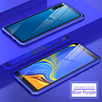 For Samsung Galaxy A7 2018 A750 Case Bumper Metal Aluminum Frame Cover with Tempered Glass Back Cover Case for Samsung A7 2018
