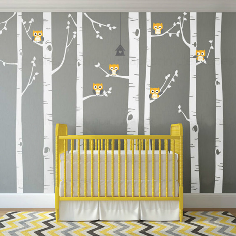 Большая Березовая елка виниловые наклейки на стены милые совы природа Настенная Наклейка в детскую лесной массив лес художественная наклейка s для детской комнаты домашний декор - 2