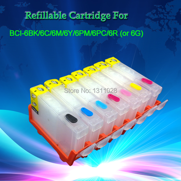 INK WAY BCI-6 6B 6C 6M 6Y 6PC 6PM 6G or  6R Refillable ink cartridges WITHOUT CHIP for CANON i990