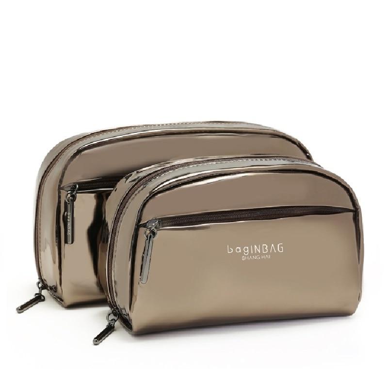 Coffee Cosmetic Bags Luxury Dazzle Protable Makeup Bags Set PU Waterproof Cosmetic Travel Bag