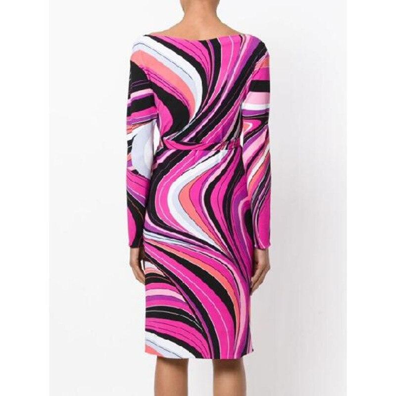 EFATZP najnowszy moda 2018 wiosna projektant sukienka damska z długim rękawem Slash neck geometryczny wzór Stretch koszulka z jedwabiu dzień sukienka w Suknie od Odzież damska na  Grupa 2
