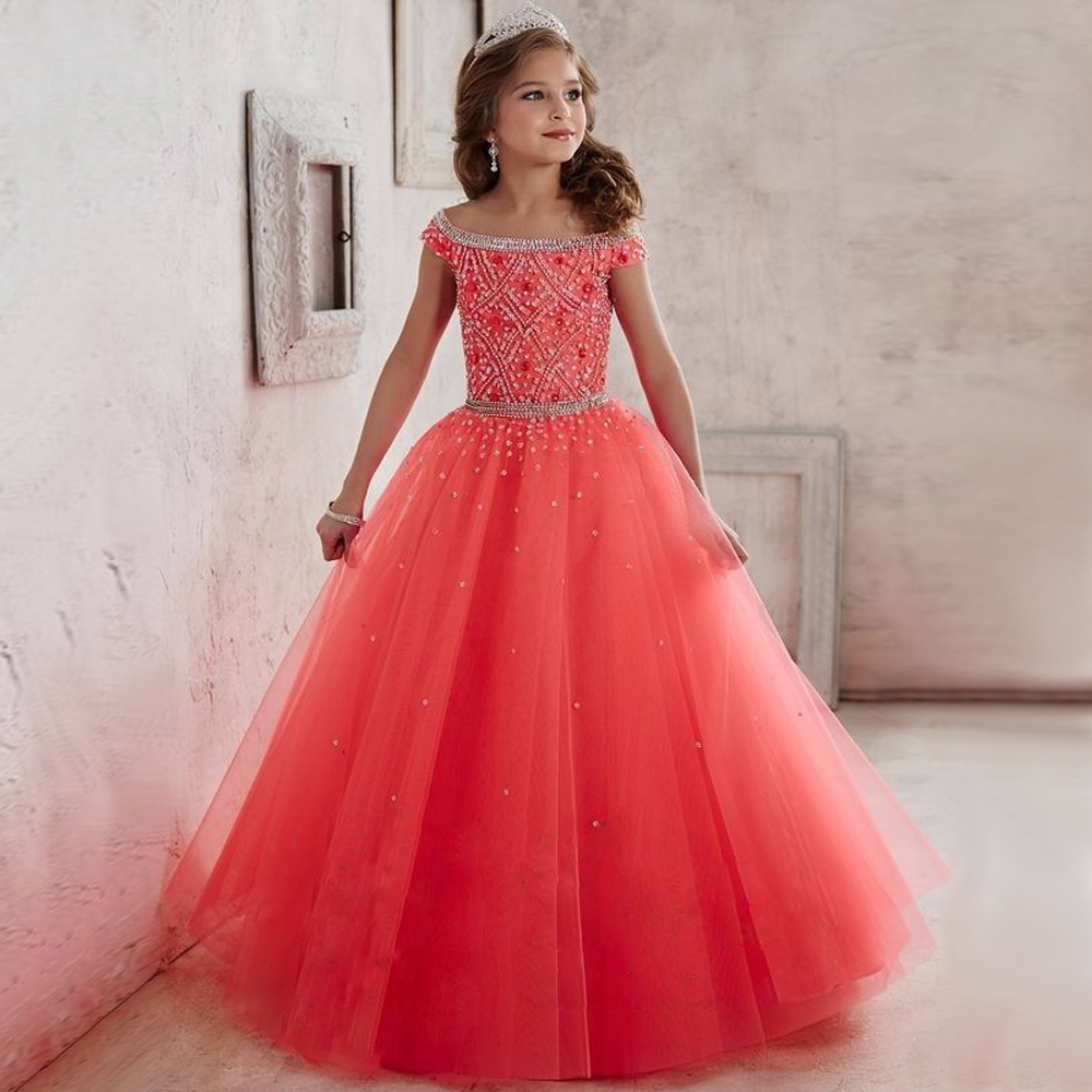 2017 New Flower Girl Dresses Satin Voile Beading Appliques Sequin Ball Gown Beading Evening Vestido Meninas