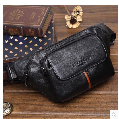 Genuine Leather Waist Bag  Men Fashion Belt Bags Male Small Waist Pack Man Casual Crossbody Shoulder Bag crazy horse oil wax genuine leather shoulder bag for men casual messenger bags male hip bum loops belt 9 inch fanny waist pack