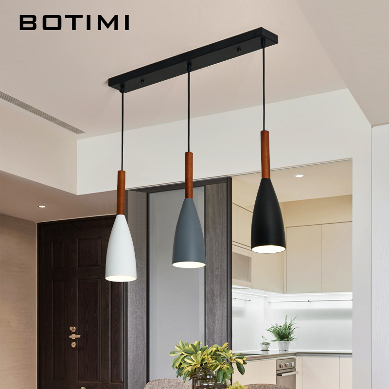 BOTIMI современные светодио дный светодиодные подвесные светильники для столовой тройной подвесной светильник E27 металлическая подвеска осв...