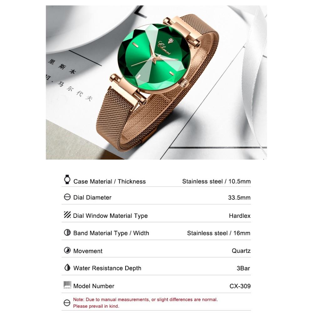 Image 4 - CHENXI Fashion 4 Colors Gem Cut Geometry Crystal Luxury Ladies Quartz Watches Womens Dress Watch Women Clock zegarek damskiWomens Watches   -