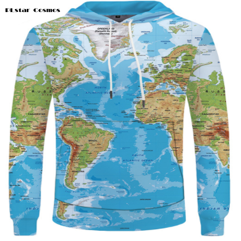 PLstar Cosmos brand world map fashion 3D printed hoodies hip-hop street casual long-sleeved men and women sweatshirts S-5XL