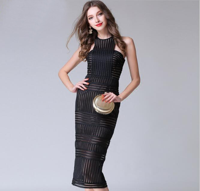 2018 Summer Europe Sexy Hollow Off the Shoulder Sleeveless Vest Slim Hip Party Dress Female Vintage Elegant Office Work Dress