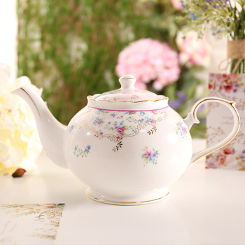 1000ML Pastoral Style Gold Plated Pink Sky Blue Ceramic Bone china Filter Afternoon Flower Tea Pot Breakfast Milk Kettle Gifts